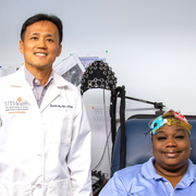 "Photo of knee pain sufferer Deborah Brown with UTHealth's Hyochol ""Brian"" Ahn, PhD, ANP-BC, and Lindsey Park. (Photo by Maricruz Kwon/UTHealth)"