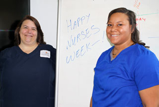 Houston Chronicle Salute to Nurses $1,000 scholarship winners are Jennifer Velasquez (left) and Robyn Mitchell, RN.