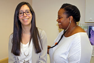Delorean Alexander (right) is one of the nurse practitioners now seeing patients at UT Health Services, 7000 Fannin St.