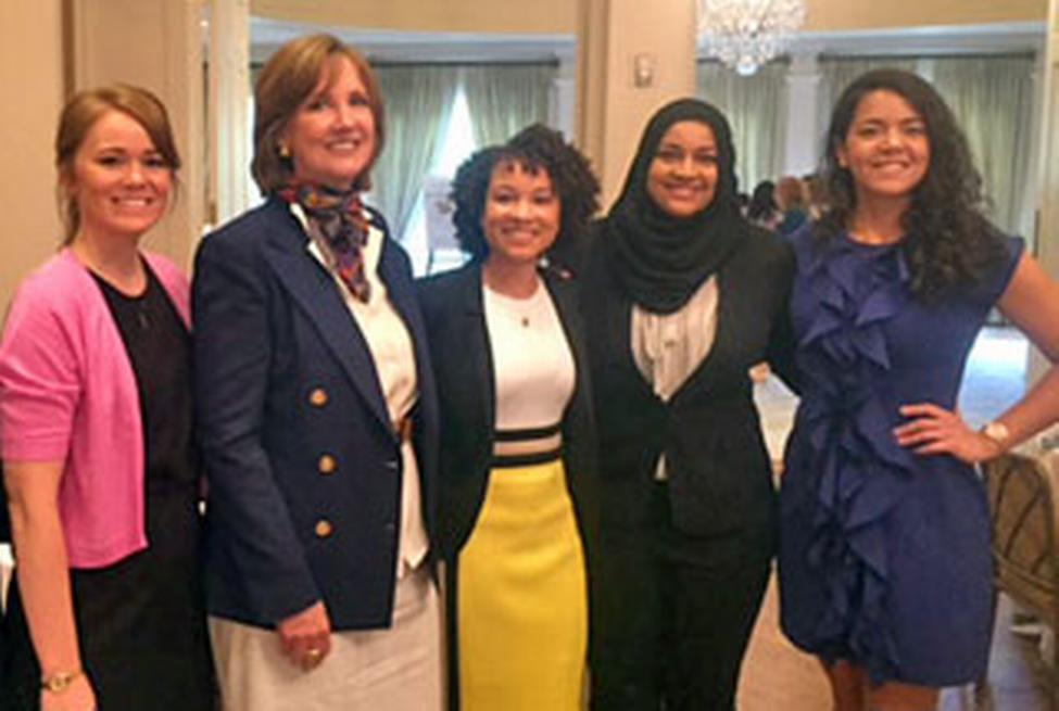 Spring 2018 Ambassadors (left-right):  Caty Johnson, Toni Gardner, Fatma Osman and Liana Depew joined Dean Frazier at the PARTNERS Spring Luncheon. (Photo by Priscilla Dickson)