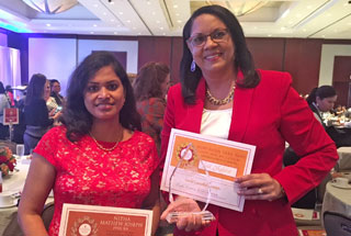 Bronze Medalist Dr. Nitha Mathew Joseph (left) and Gold Medal winner Dr. Mary Ellen Trail Ross at the Sept. 5th luncheon at the Royal Sonesta Houston Galleria hotel.